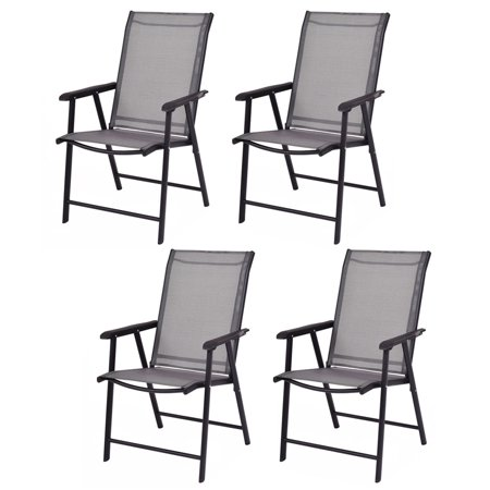GHP 4-Pcs 250-Lbs Capacity Black Textilene & Steel Frame Folding Chairs with Armrest