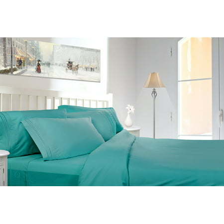 Clara Clark 1800 Series Deep Pocket 4pc Bed Sheet Set Cal King Size, Teal ()