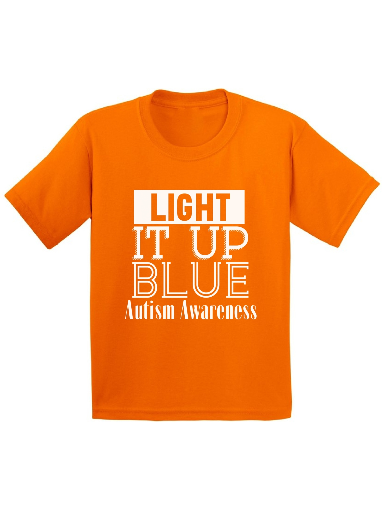 Awkward Styles Youth Light It Up Blue for Autism Awareness Shine A Light White Graphic Youth Kids T-shirt Tops