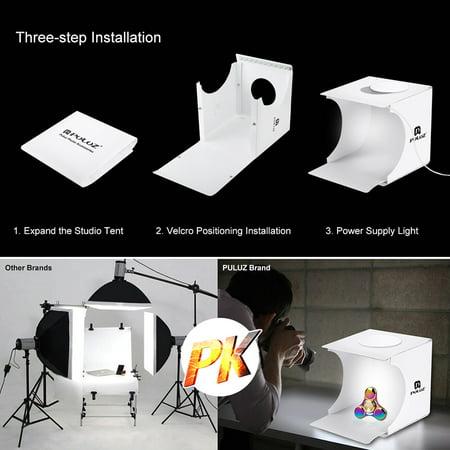 PULUZ Dual Light Lightbox Mini 40Pcs LED Light Room foliding Photography  Lighting Softbox Tent Photobooth Backdrop USB Cube Box Photo Studio Light  Box