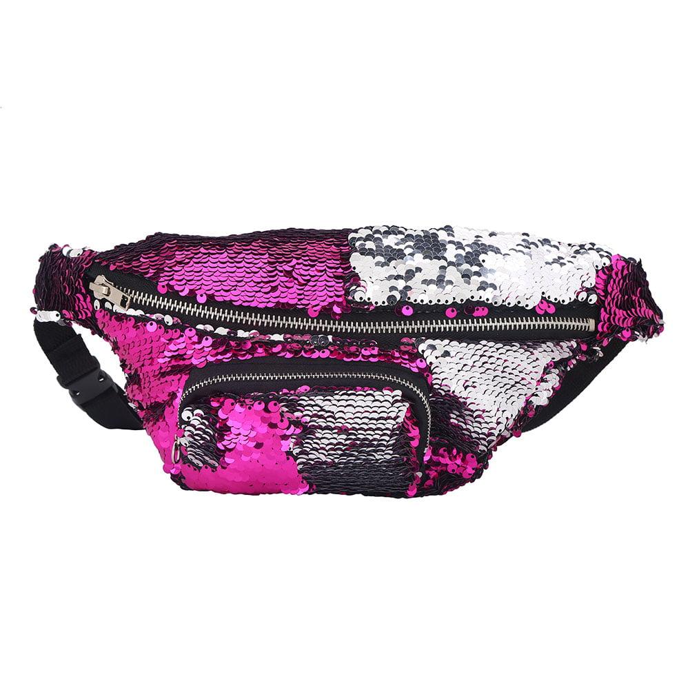 Yosoo 4Colors Fashionable Women Sequins Waist Pouch Pack Travel Cosmetic Bag, Women Sequins Bag, Women Waist Pouch