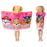 PAW Patrol Kids Bath and Beach Hooded Towel Wrap, 100% Cotton, Pink