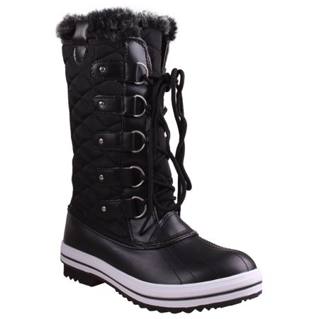 - Enimay Women's Faux Fur Lined Water Resistant Winter Boot Black Size 5