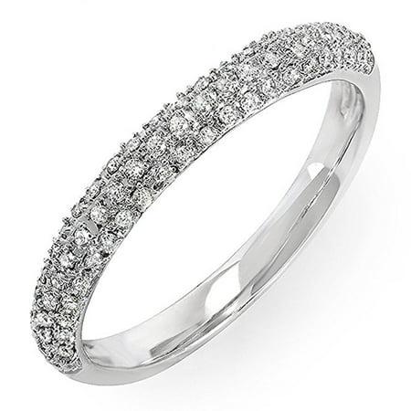 0.25 Carat (ctw) 14k Gold Round Diamond Ladies Pave Anniversary Wedding Band Stackable Ring 1/4 CT