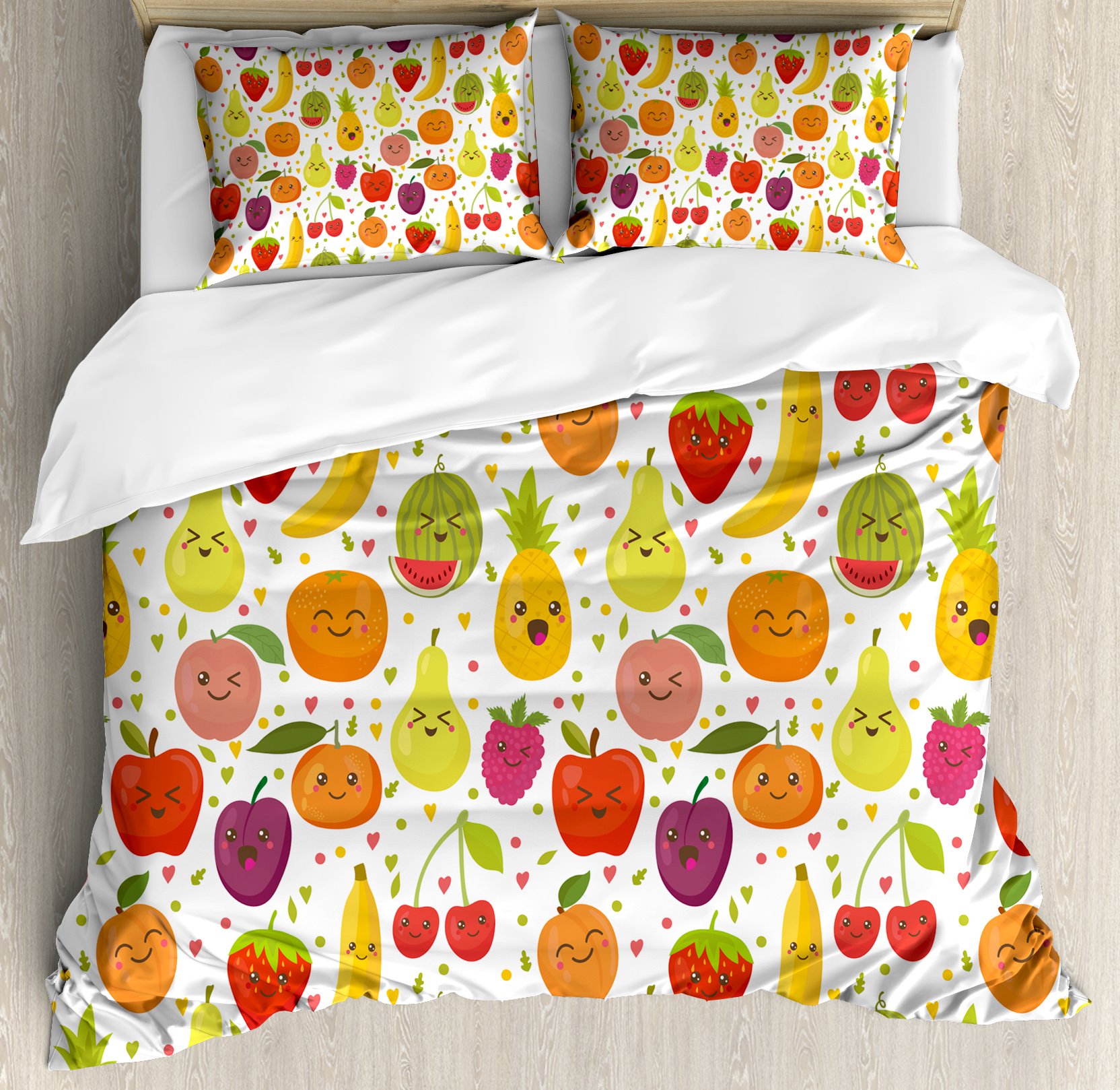 Fruits Queen Size Duvet Cover Set, Smiling Banana Funny Mulberry Happy Apricot Peach... by Kozmos