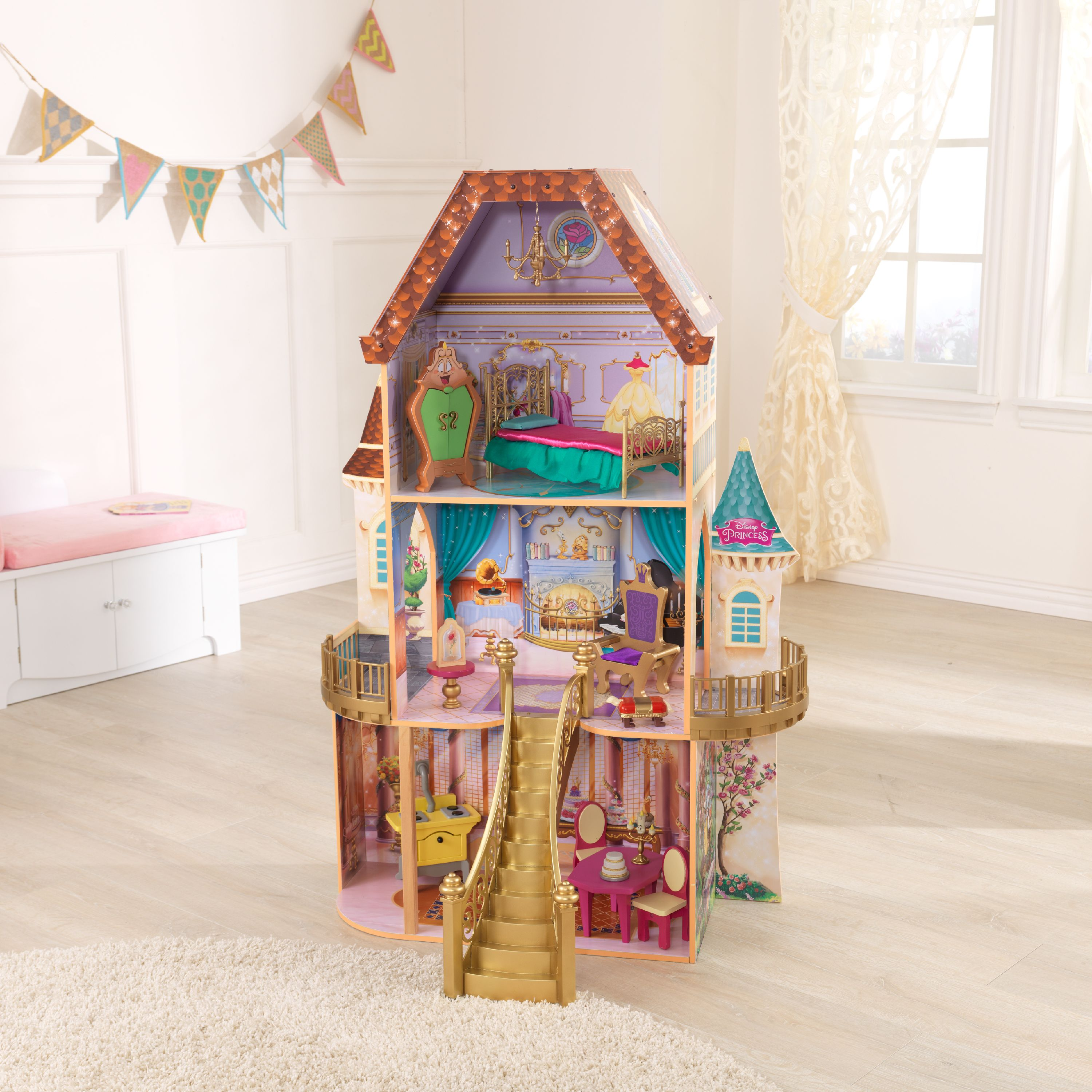 Disney Princess Belle Enchanted Dollhouse with 13