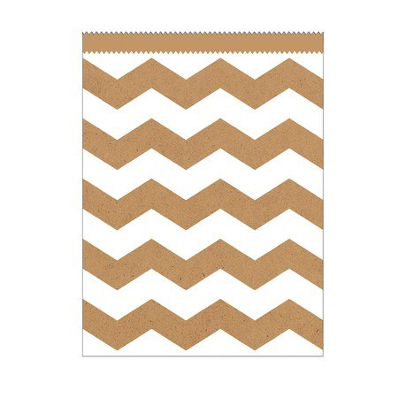Club Pack of 120 Kraft Natural Brown and White Chevron Striped Large Decorative Paper Party Treat Bags 8.75