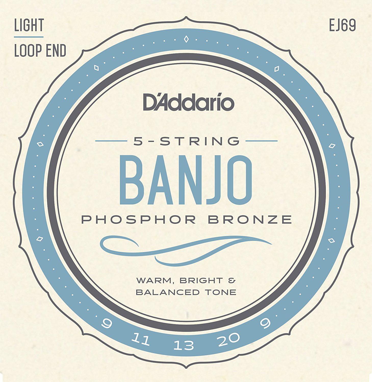 D'Addario EJ69 Phosphor Bronze 5-String Banjo Strings, Light, 9-20, One of D'Addario's... by