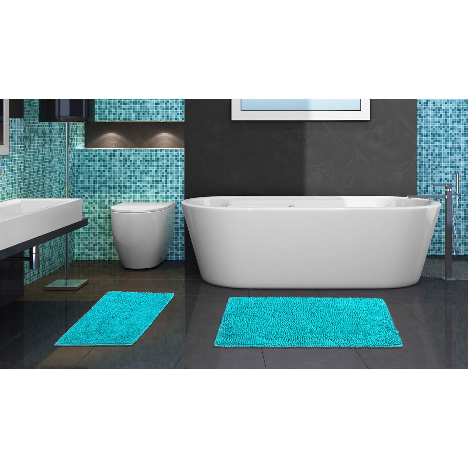 Popular Bath Chenille Bright 2 Piece Rug Set