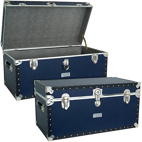 "Seward™ Classic Collection Oversized Footlocker Trunk, 30.9"", Navy Blue"