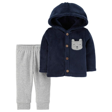 Child of Mine by Carter's Baby Boy Sherpa Hooded Cardigan & Pants ...