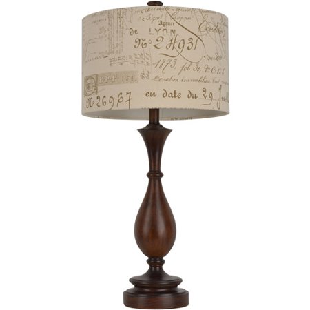 walnut turned resin table lamp with french script shade. Black Bedroom Furniture Sets. Home Design Ideas