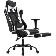 Ergonomic Office Chair PC Gaming Chair Desk Chair Executive PU Leather Computer Chair Lumbar Support with Footrest Modern Task Rolling Swivel Chair for Adults,White