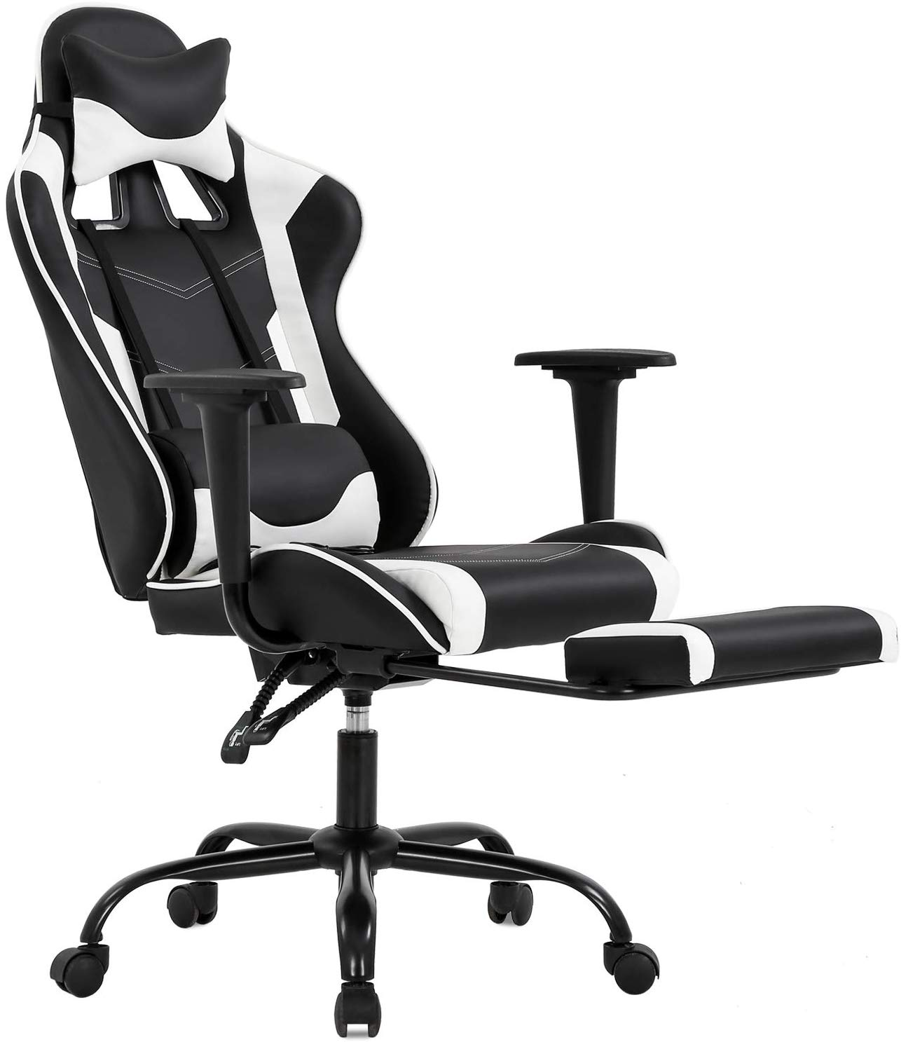 Picture of: Ergonomic Office Chair Pc Gaming Chair Desk Chair Executive Pu Leather Computer Chair Lumbar Support With Footrest Modern Task Rolling Swivel Chair For Adults White Walmart Canada