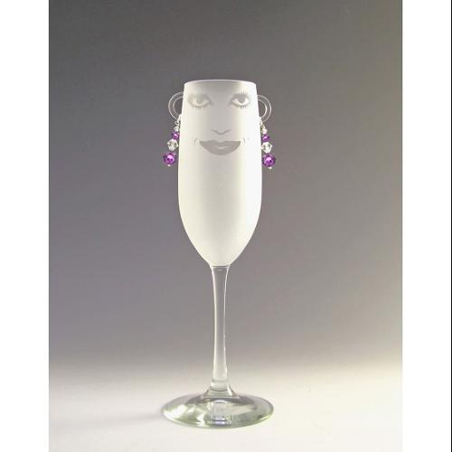 Set of 4 Lola Etched Champagne Flute Glasses with Amethyst Earrings 8 ounces