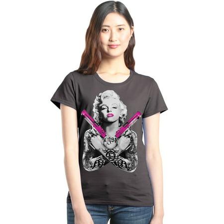 Shop4Ever Women's Tattooed Marilyn Pink Guns Gangster Graphic T-Shirt - Pink Gangster