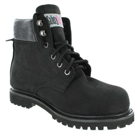 II Sheepskin Lined Womens Work Boots - Black Soft Toe