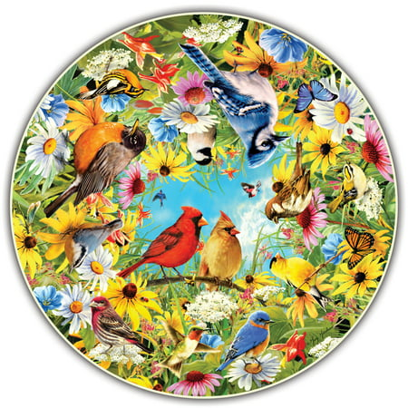 A Broader Views Round Table Puzzle   Backyard Birds By Greg Giordano  500 Piece