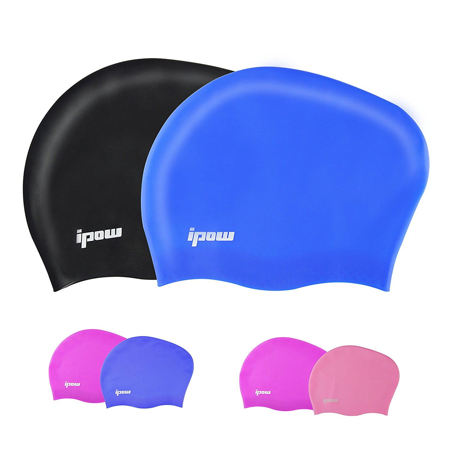 IPOW Swimming Cap Soft Silicone Soid Swim Cap Wrinkle Free Elastic & Large Stretch Flexible Durable Haircare Swimming Hat for Adult Men Women Children Unisex, Blue+ Black