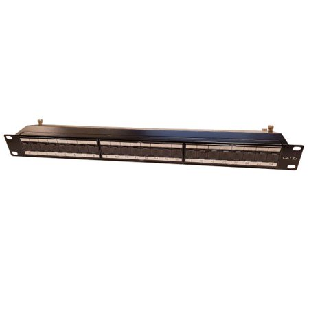 24 port (1u) shielded patch panel - cat6a 110 t568a or t568b - image