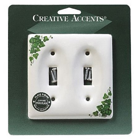 Creative Accents Wood Wall Plate - Creative Accents 982IV Decorative Green Ivy Porcelain Two Gang Toggle Light Switch Wallplate