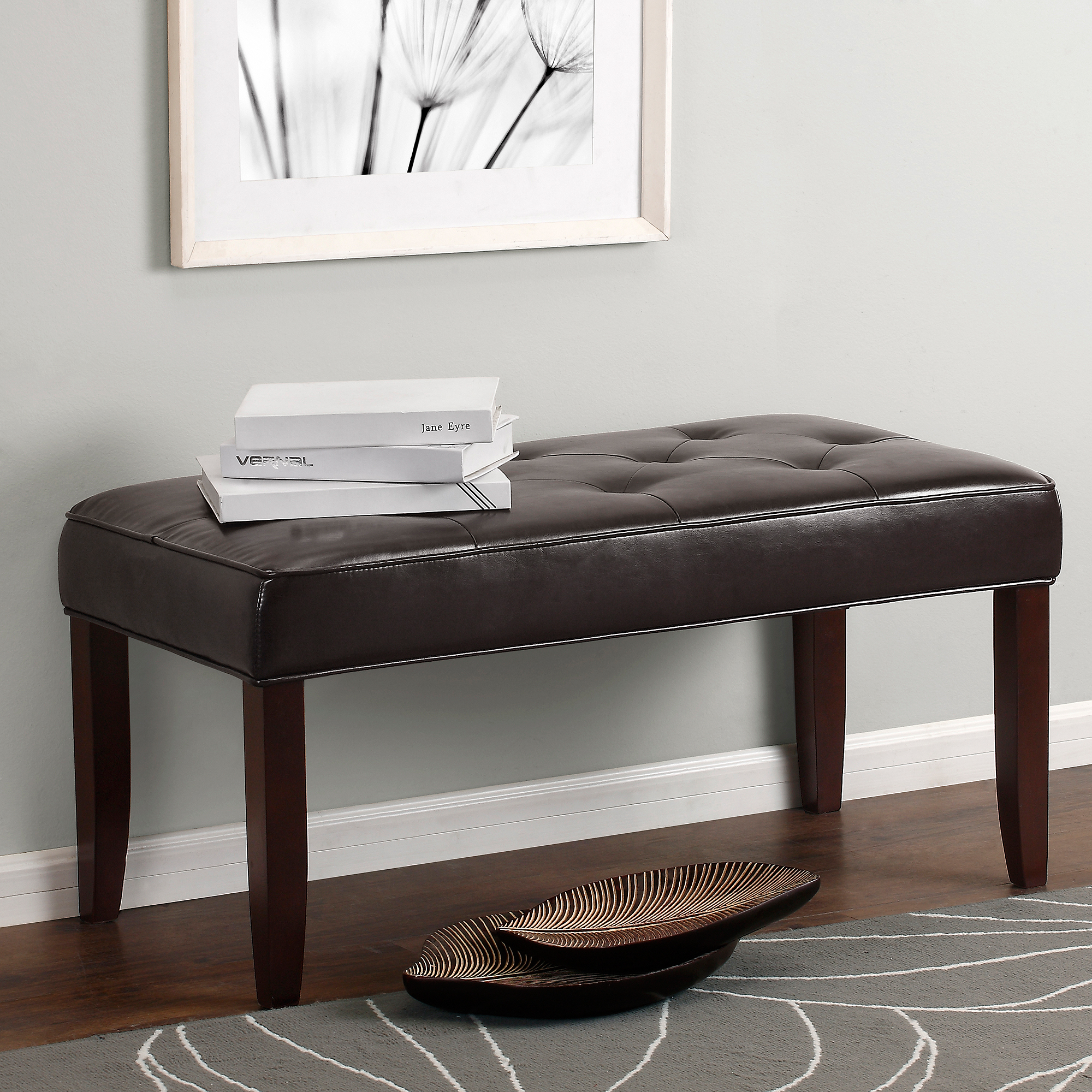 Dorel Living Camdyn Faux Leather Tufted Bench, Espresso