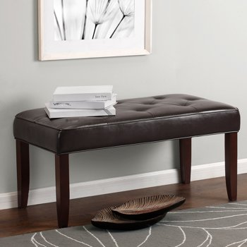 Dorel Living Camdyn Faux Leather Tufted Bench