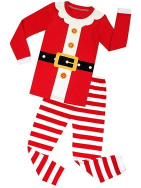 Elowel Baby Matching Family Christmas Pajamas - Red Santa Claus 2-Piece Set, 100% Cotton (Baby, Toddler)