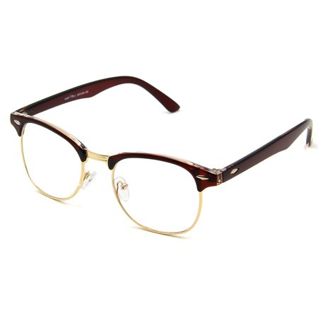 Cyxus Semi-Rimless Blue Light Blocking Computer Glasses with Dark Brown Frame, Anti Eyestrain Headaches Men/Women