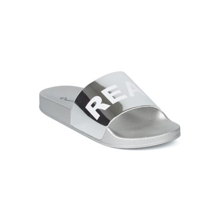 New Women Metallic PVC Real AF Open Toe Footbed Slide - 17855 By Qupid Collectio ()