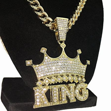 Crown King Hip Hop Pendant Chain Blinged Out Gold Finish Heavy Necklace 30