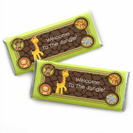 Funfari - Fun Safari Jungle - Candy Bar Wrappers Baby Shower or Birthday Party Favors - Set of 24 - Jungle Birthday Party