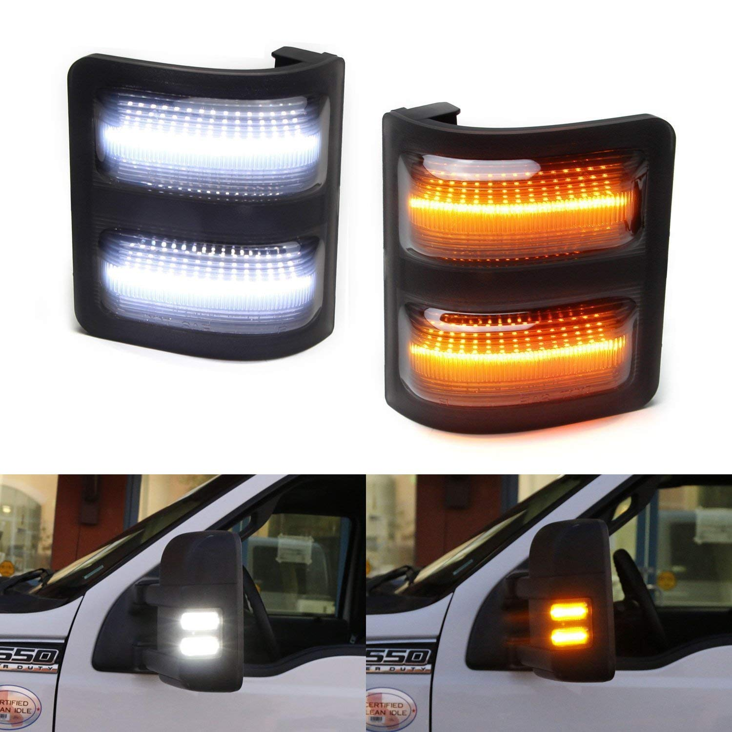 iJDMTOY (2) Smoked Lens Switchback LED Side Mirror Marker Lights For 2008-2016 Ford F-250 F-350 F-450 Super Duty (White: Parking Light, Amber: Turn Signal)