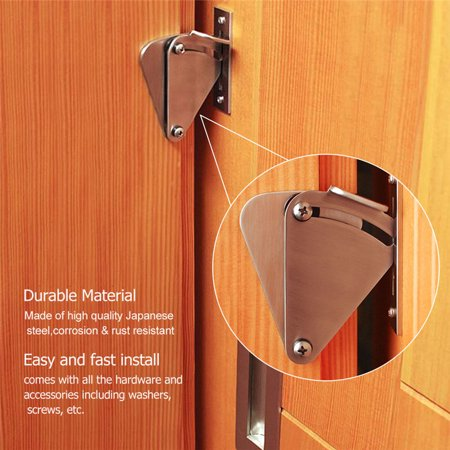 Stainless Steel Lock Rolling Sliding Wood Barn Door Latch Hardware Pocket Privacy