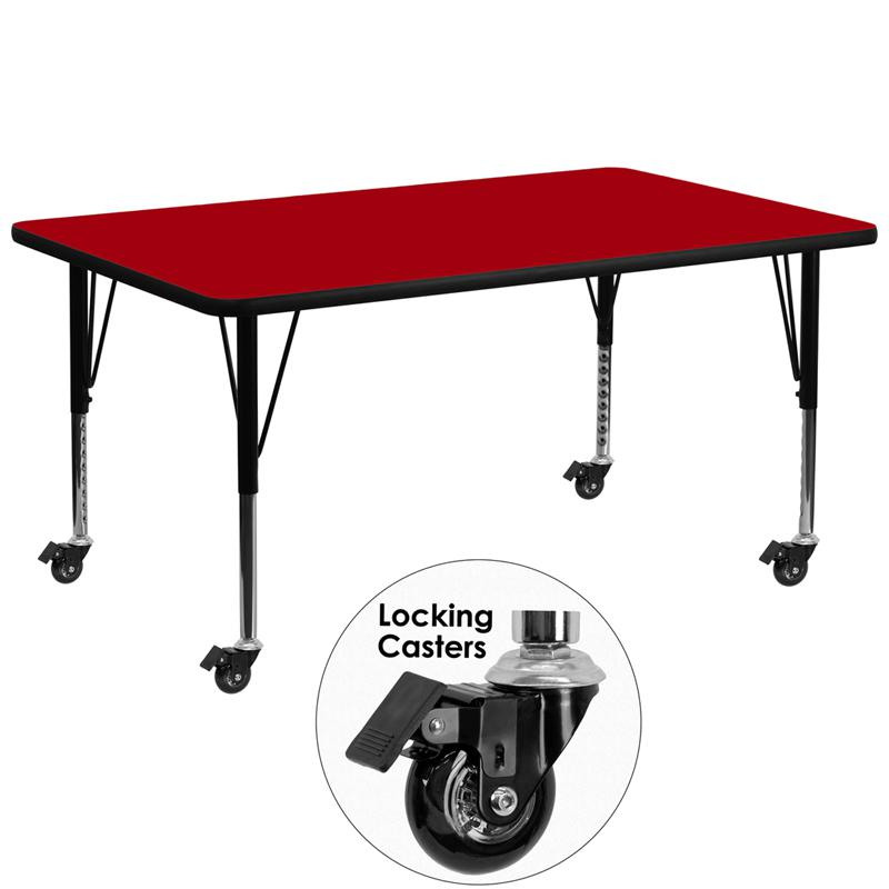 Mobile 30''W x 72''L Rectangular Red Thermal Laminate Activity Table - Height Adjustable Short Legs