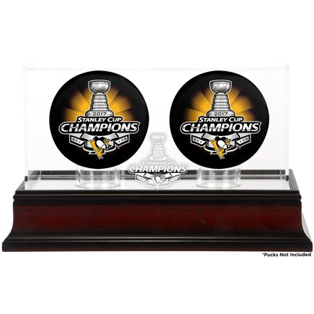Pittsburgh Penguins Fanatics Authentic 2017 Stanley Cup Champions Mahogany Two Hockey Puck Logo Display Case - No
