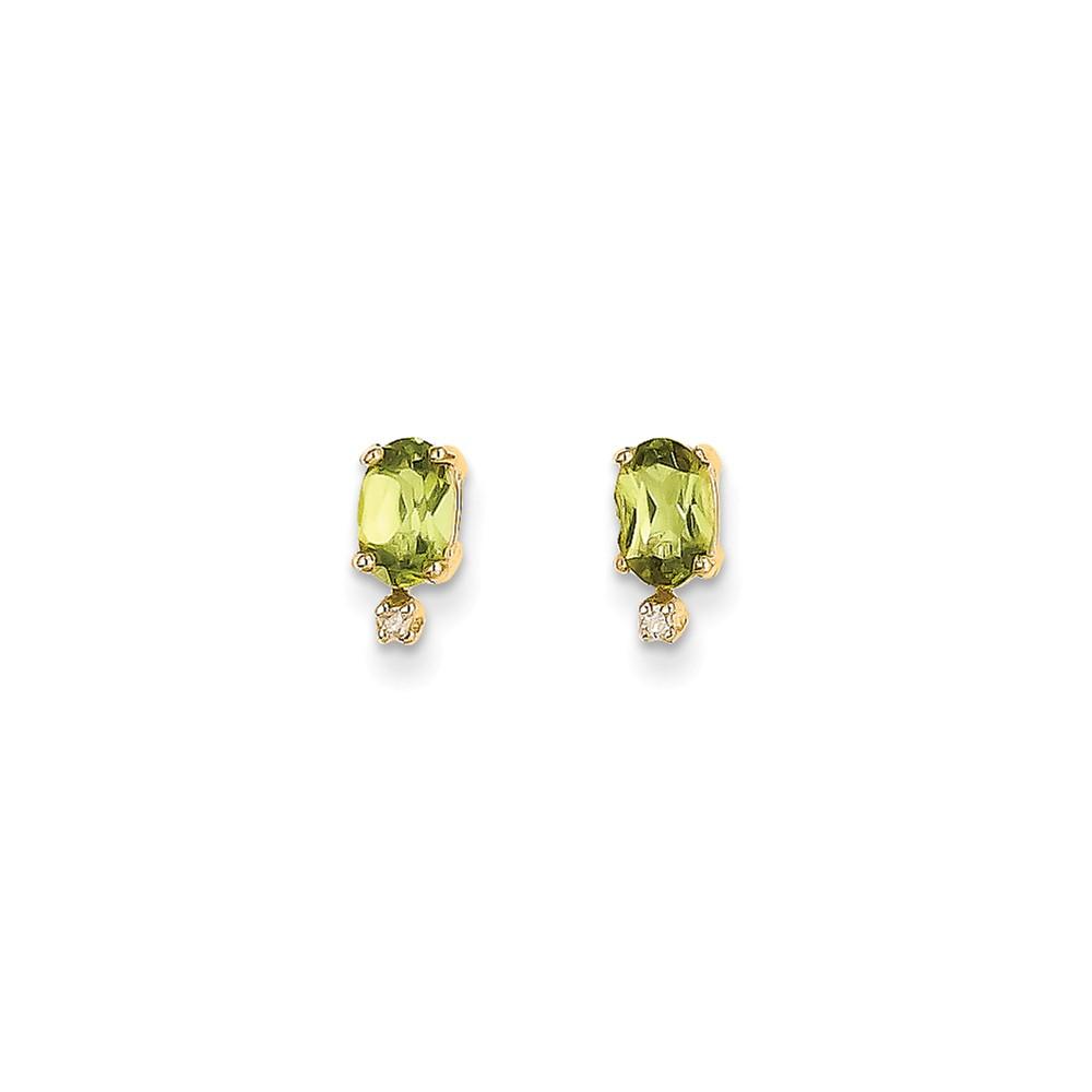 14k Yellow Gold Diamond & 6x4 Oval Peridot Birthstone Post Earrings Wt- 0.018ct (9MM Long x 4MM Wide)