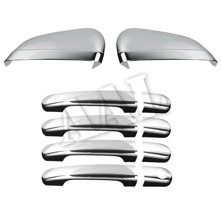 AAL Premium Chrome Cover Combo For FORD 2005 2006 2007 FIVE HUNDRED 4 Doors HANDLE Without Passenger Side Keyhole+2PC MIRROR ()
