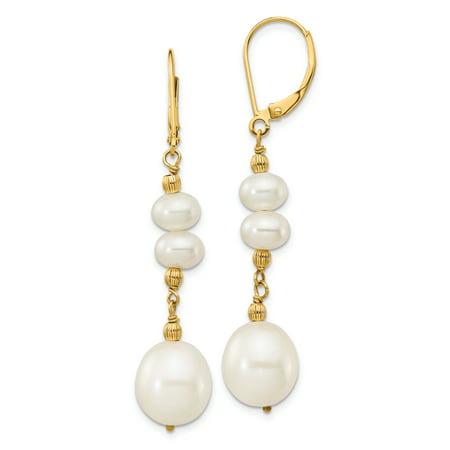 14k Mlb Earrings - 14K Yellow Gold 6-9mm White Freshwater Culutured Pearl Leverback Dangle Earrings