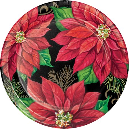 Red and Green Floral Design Printed Decorative Posh Poinsettia Platter 7