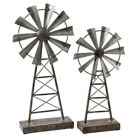 Farmhouse Windmill Table Top Decor, Gray - Set of 2