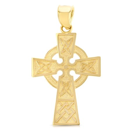 14K Yellow Gold Celtic Cross Religious Charm Pendant For Necklace or (Celtic Cross Street)