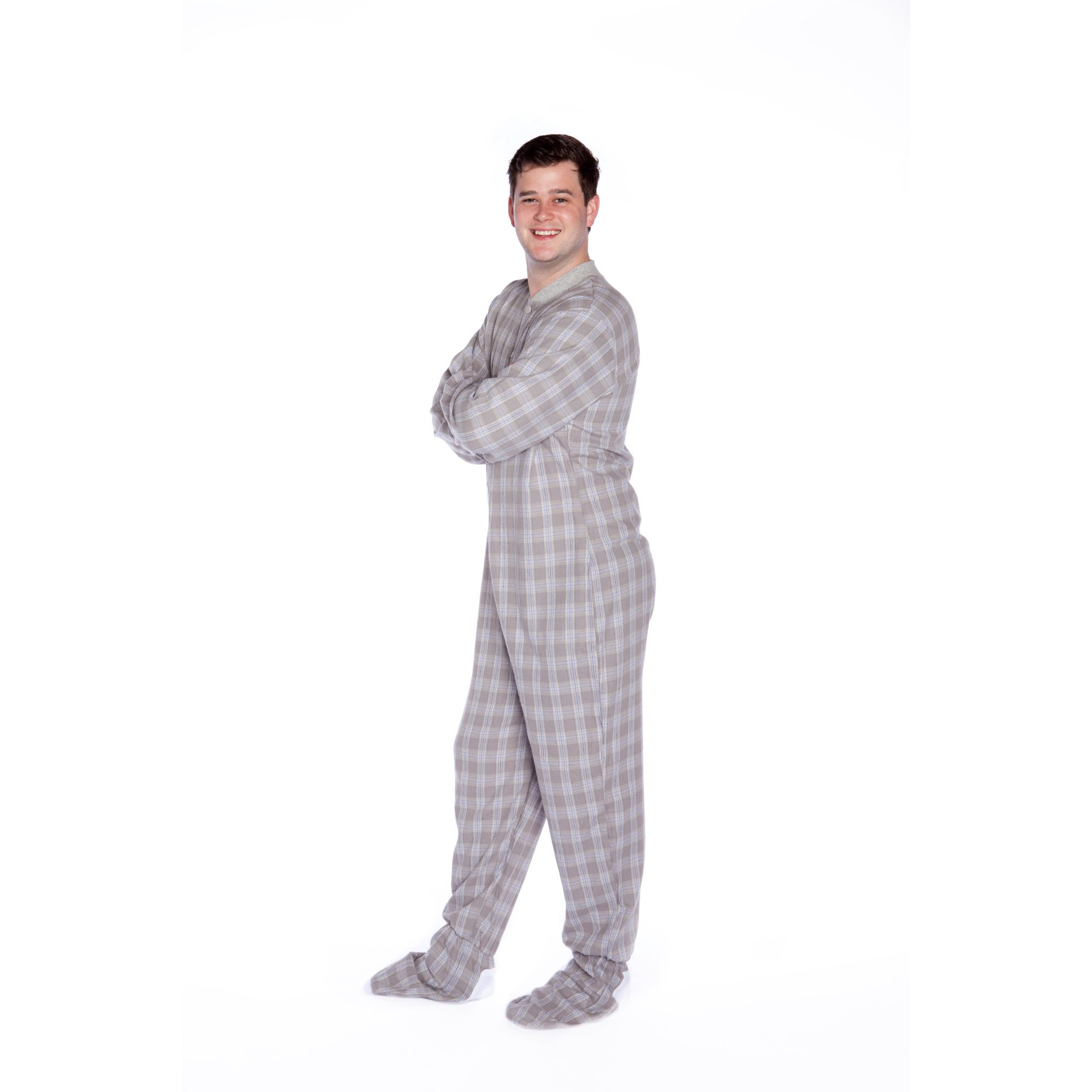 2034e26057 Grey   White Plaid Flannel Mens Adult Footed Pajamas Drop Seat Footed  Sleeper