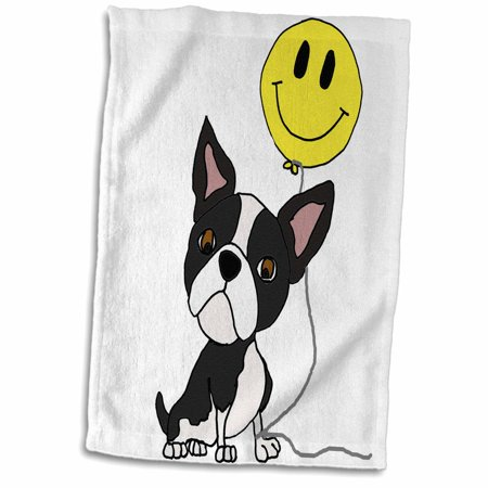 3dRose Cute Funny Boston Terrier Puppy Dog with Smiley face Balloon - Towel, 15 by