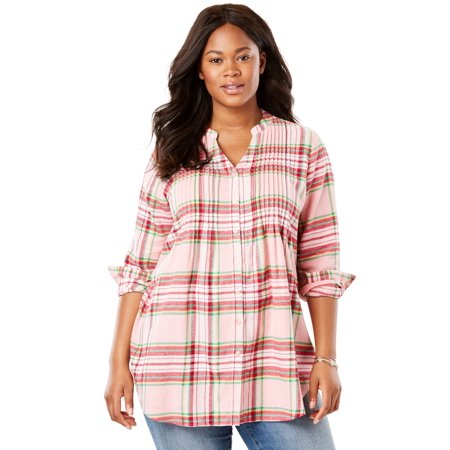 a74cede5bcb Woman Within - Plus Size Pintucked Flannel Shirt - Walmart.com