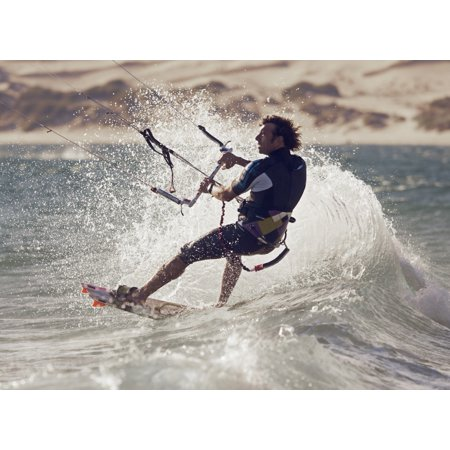 A Man Kitesurfing Tarifa Cadiz Andalusia Spain Canvas Art - Ben Welsh Design Pics (36 x 26)