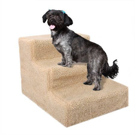 Zimtown Small Pets 3-Steps Stairs Soft Portable Ramp Ladder With Cover For Puppy Kitten Up to 70 lbs Beige