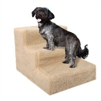 Zimtown Pets 3-Steps Stairs, Soft Portable With Cover, Small, Beige