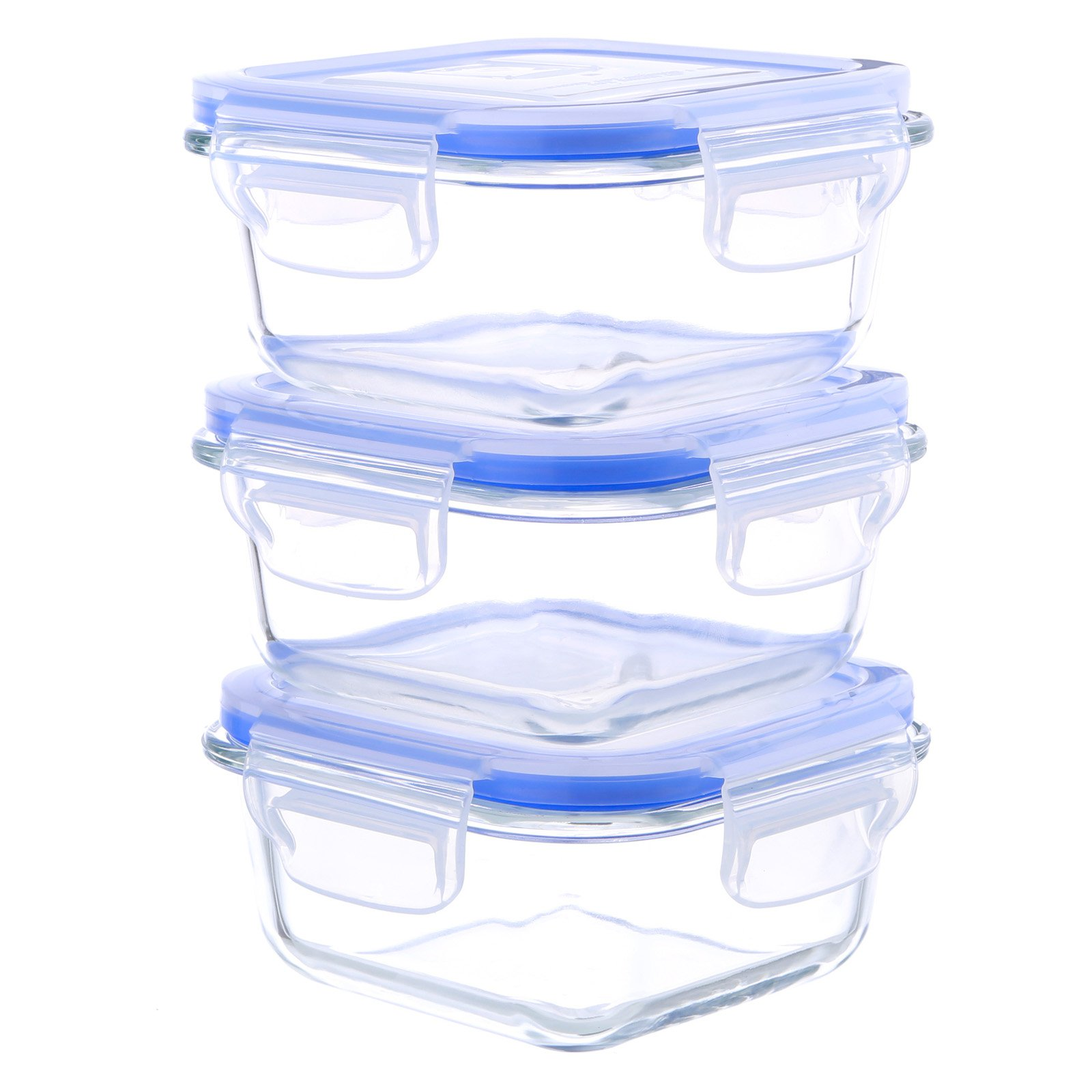 Kinetic GoGreen Glassworks 6-Piece Square Oven Safe Glass Food Storage Container Set with Vented Lid; 17 oz. Each