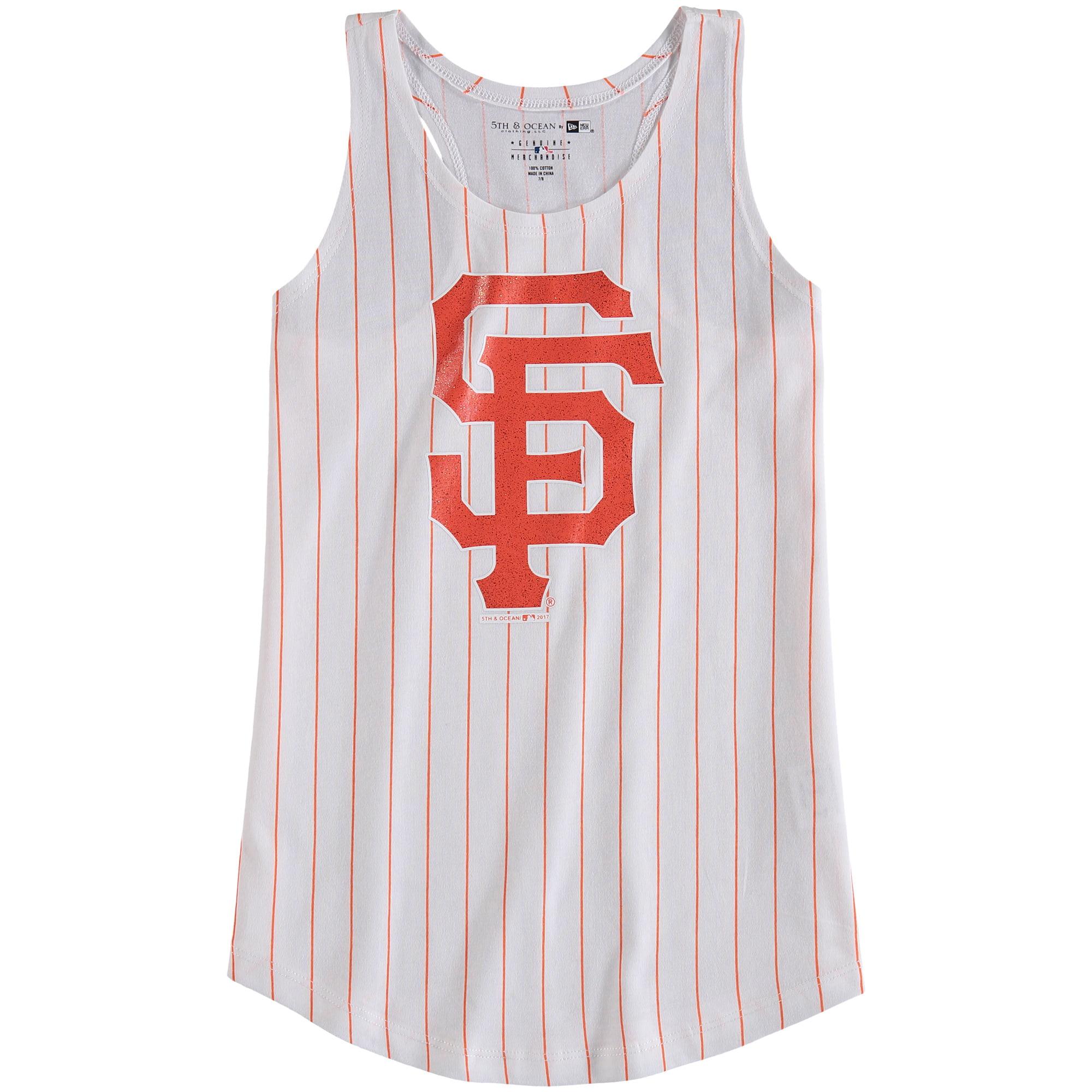 San Francisco Giants 5th & Ocean by New Era Girls Youth Pinstripe Jersey Racerback Tank Top - White/Orange